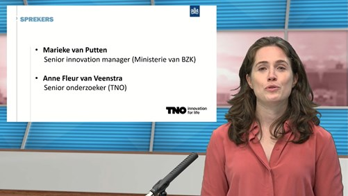 AI expert Anne Fleur van Veenstra, during the AI webinar 'AI's role in government decision-making'.