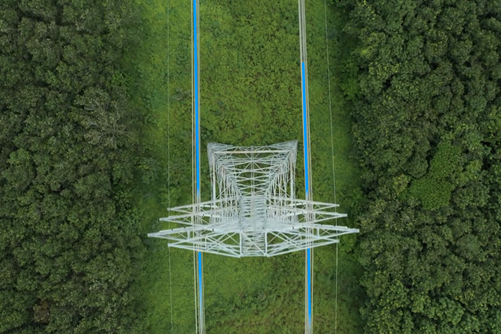 Aerial view of an electricity pole on a lawn, trees can be seen on both sides