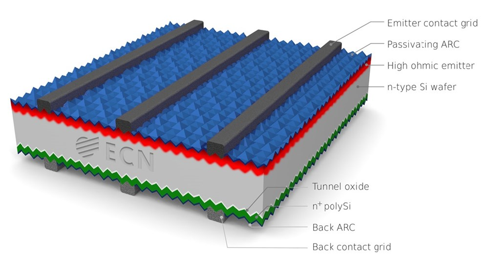 Cross section of TNOs polysilicon based passivating contact solar cell